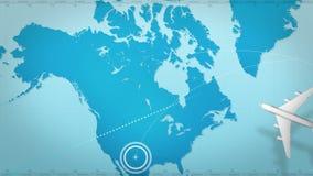 Airplane around world map.tour.2 stock footage
