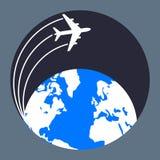 Airplane around the world Stock Photo