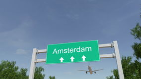 Airplane arriving to Amsterdam airport. Travelling to Netherlands conceptual 4K animation