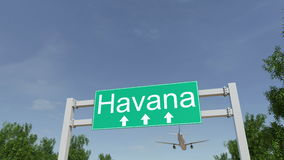 Airplane arriving to Havana airport. Travelling to Cuba conceptual 4K animation