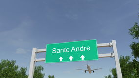 Airplane arriving to Santo Andre airport. Travelling to Brazil conceptual 4K animation. Commercial airplane arriving to Santo Andre airport. Travelling to Brazil stock footage