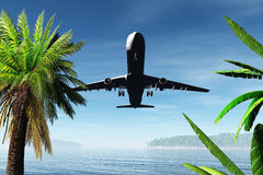 Airplane Arriving in Tropical Paradise 3D render. Airplane Flying 3D render,clouds , flight,transpotation Stock Photography