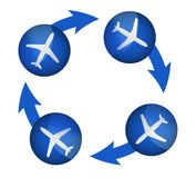 Airplane arrow cycle illustration Royalty Free Stock Photos