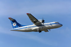 Airplane ATR42 airlines AZAL. Takes off, Rostov-on-Don, Russia, October 29, 2010 Royalty Free Stock Images