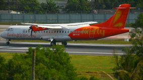 Airplane ATR 72-500 landing stock video footage