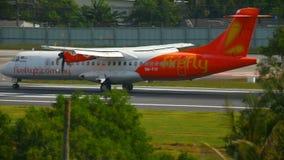 Airplane ATR 72-500 landing stock video footage