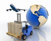 Airplane, autoloader with boxes and  globe Stock Images