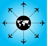 Airplane backgorund. Airport travel destinations on blue Royalty Free Stock Image