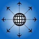 Airplane backgorund. Airport travel destinations on blue Stock Image