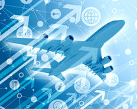 Airplane with background of app icons and arrows Stock Images