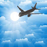 Airplane on a background of clouds. Vector. Airplane on a background of clouds. Colorful Vector vector illustration