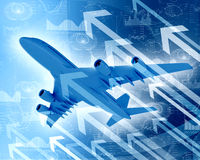 Airplane with the background of graphs and arrows Royalty Free Stock Photos