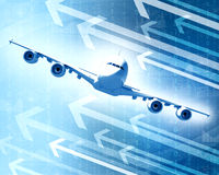 Airplane with the background of graphs and arrows Royalty Free Stock Images