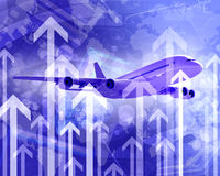 Airplane with the background of graphs and arrows Royalty Free Stock Image