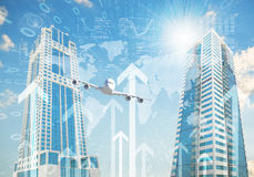 Airplane with background of skyscrapers and arrows Stock Images