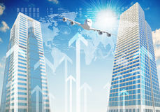 Airplane with background of skyscrapers and arrows Royalty Free Stock Images