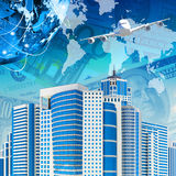 Airplane with background of skyscrapers and Earth. Airplane with the background of skyscrapers and Earth. Business concept. Elements this image are furnished by Royalty Free Stock Photo