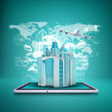 Airplane with background of skyscrapers on tablet Stock Images
