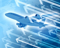 Airplane with background of world map and arrows Stock Photos