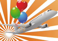 Airplane and balloons Stock Photos