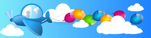 Airplane with balloons on sky Royalty Free Stock Photos
