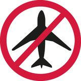 Airplane in ban sign - airplanes forbidden. Vector Royalty Free Stock Image