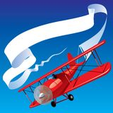 Airplane with a banner. Isolated raster version of vector image of vintage red airplane with blank banner in the sky (contain the Clipping Path) There is in