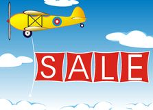 Airplane with banner Stock Images