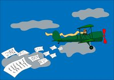 Airplane, banner, biplane, vector illustration Royalty Free Stock Photography