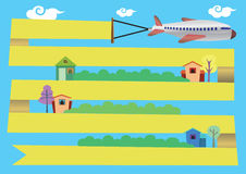 Airplane with Banner Flying Around Town Vector Cartoon Illustrat Stock Photos