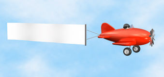 Airplane with Banner - isolated. 3D cartoon like old fashioned red airplane with empty banner Royalty Free Stock Images