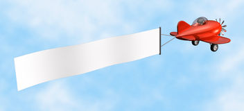 Airplane with Banner - isolated. 3D cartoon like old fashioned red airplane with empty banner Stock Photography