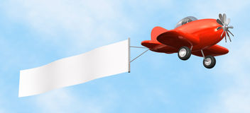 Airplane with Banner - isolated. 3D cartoon like old fashioned red airplane with empty banner flying upward Stock Images