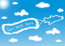 Airplane with a banner in the sky. Airplane is made of fluffy clouds with a banner in the sky. Vector illustration Royalty Free Stock Photos