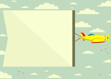 Airplane with banner, vector illustration Stock Photos