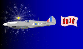 2016 Airplane Banner. A World War 2 fighter plane towing a 2016 banner Stock Illustration