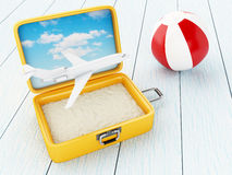Airplane, beach ball and suitcase open with sand. 3D Illustration. Airplane, beach ball and suitcase open with sand. Travel and holidays concept Stock Photo