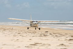 Airplane on beach - Fraser Island Stock Photo
