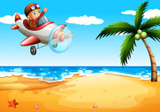 An airplane at the beach. Illustration of an airplane at the beach Stock Photos