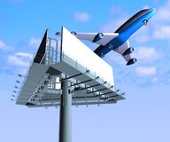 Airplane and billboard Royalty Free Stock Images