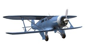 Airplane biplane. Blue airplane 3D isolated white background Royalty Free Stock Photos