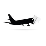 Airplane black silhouette sticker  Stock Photo