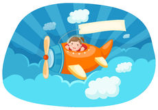 Airplane with blank banner Stock Image