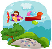 Airplane with blank banner. Illustration of cartoon airplane with blank banner stock illustration