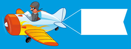 Airplane with blank sign. Isolated illustration of Airplane with blank sign royalty free illustration