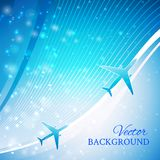 Airplane on blue background. With white lines.  design element. Airliner, jet Royalty Free Stock Photography