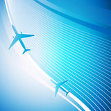 Airplane on blue background. With white lines. Vector illustration Royalty Free Stock Photos