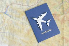 Airplane on the blue passports. Close up.  stock photo