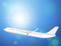 Airplane on blue sky Royalty Free Stock Photos