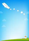 Airplane and blue Sky background Royalty Free Stock Image